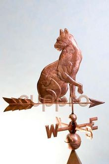 Флюгер кошка из меди Арт. 11010