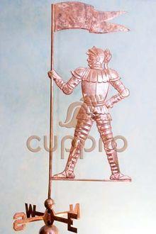 Флюгер медный Рыцарь с флагом